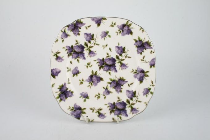 Royal Albert Lilac Lane Starter / Salad / Dessert Plate Square, Accent, Platinum Edge 7 3/4""