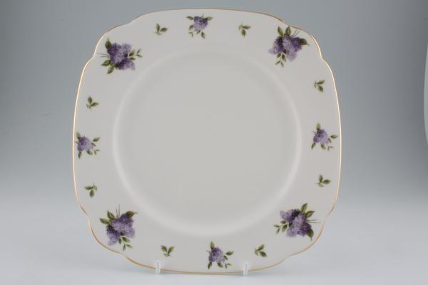 "Royal Albert Lilac Lane Breakfast / Salad / Luncheon Plate Square 9 3/4"""