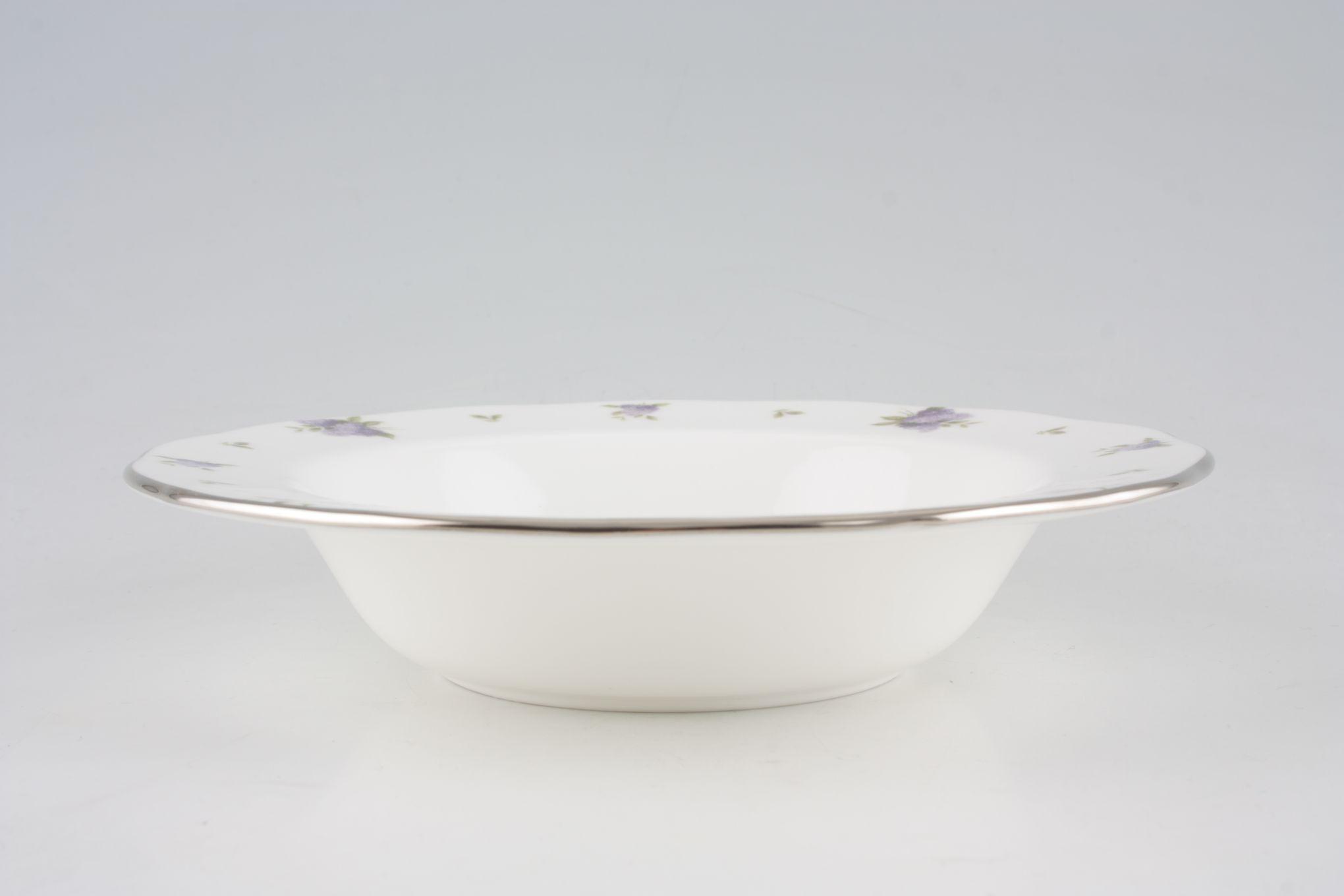 "Royal Albert Lilac Lane Rimmed Bowl **Platinum Edge** 8"" thumb 1"