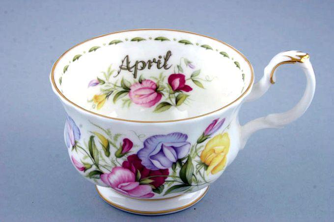 "Royal Albert Flower of the Month Series - Montrose - April - Sweet Pea Breakfast Cup Montrose shape - light fluting 4 1/4 x 2 3/4"""