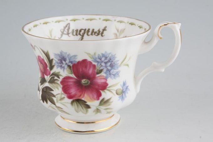 "Royal Albert Flower of the Month Series - Montrose - August - Poppy Teacup Montrose shape - light fluting 3 1/2 x 2 3/4"""