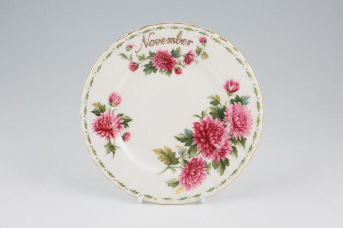 "Royal Albert Flower of the Month Series - Montrose - November - Chrysanthemum Tea / Side / Bread & Butter Plate 6 1/4"""