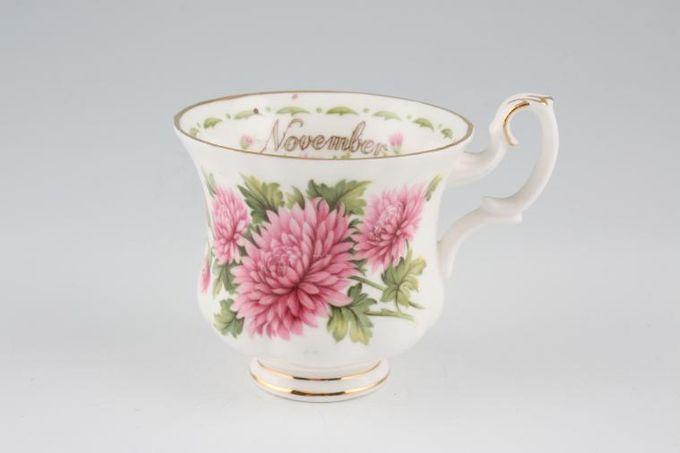 "Royal Albert Flower of the Month Series - Montrose - November - Chrysanthemum Coffee Cup Montrose shape - light fluting 2 7/8 x 2 5/8"""