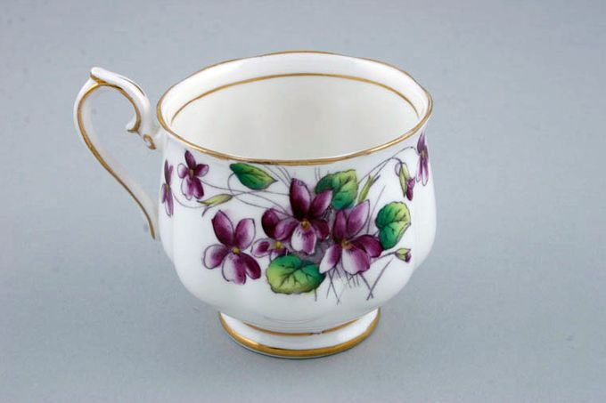 Royal Albert Flower of the Month Series - Hand Painted - Violets No.2 Teacup Montrose shape - fluted 3 x 2 3/4""