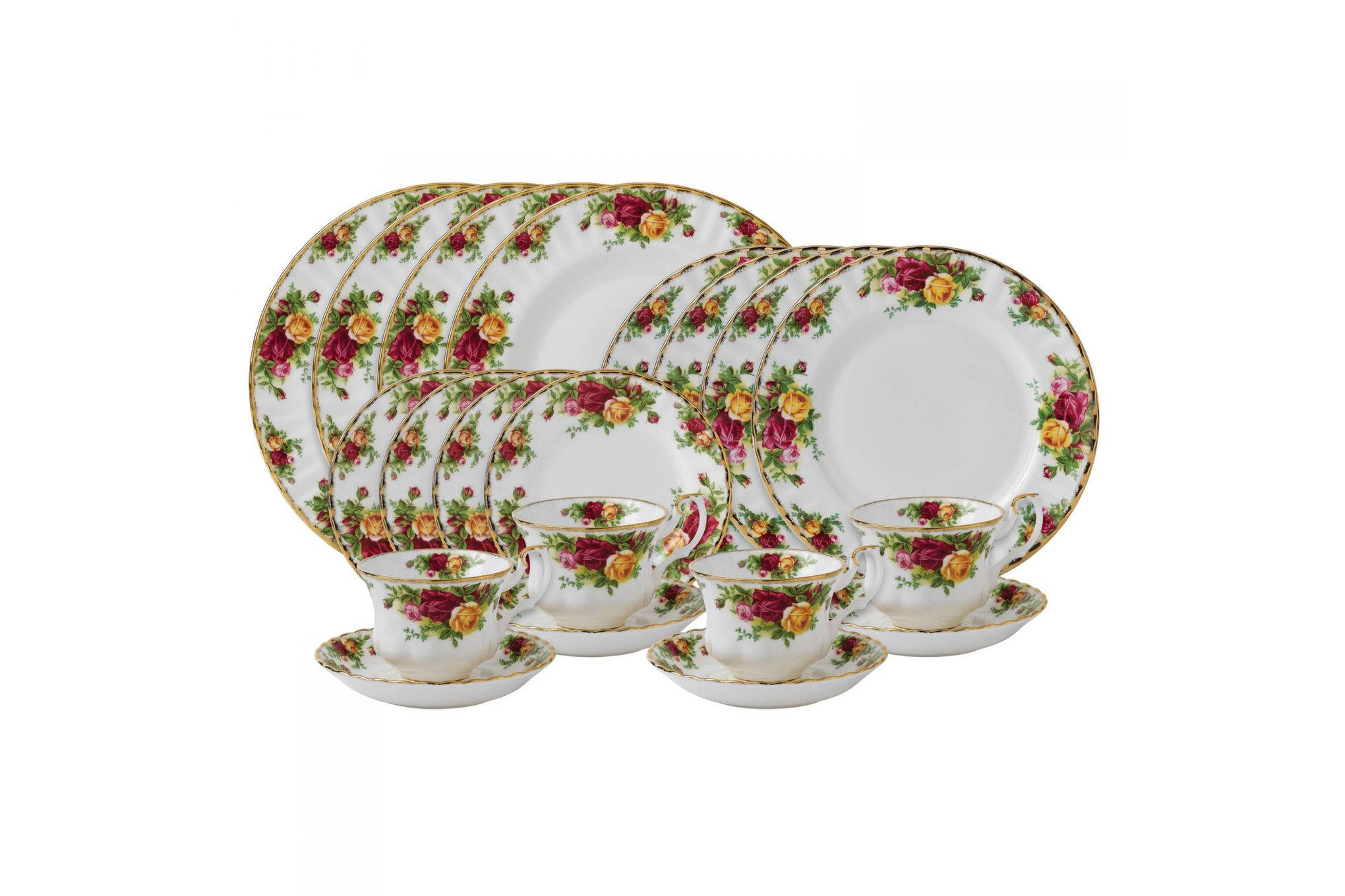 Royal Albert Old Country Roses - Made Abroad 20 Piece Set 4x Plate 27cm, 4x Plate 20cm, 4x Plate 16cm & 4x Teacup and Saucer thumb 1