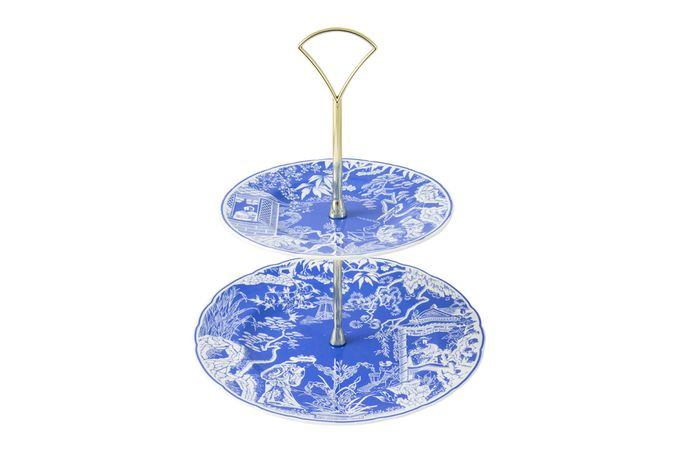 Royal Crown Derby Mikado 2 Tier Cake Stand Blue