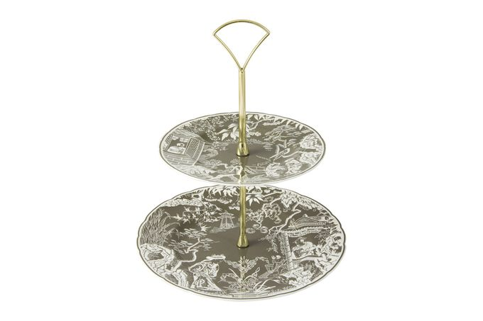 Royal Crown Derby Mikado 2 Tier Cake Stand Taupe