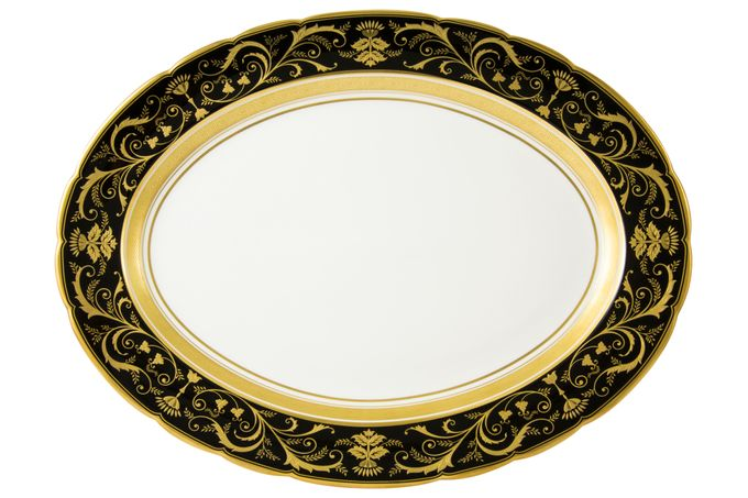 Royal Crown Derby Regency - Black Oval Plate / Platter 38cm
