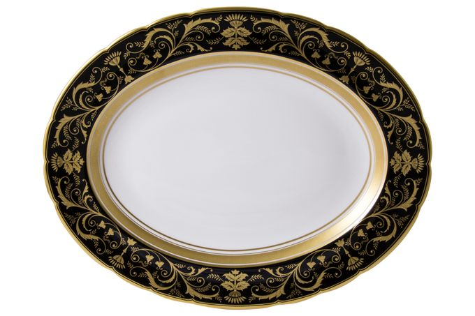 Royal Crown Derby Regency - Black Oval Plate / Platter 33cm