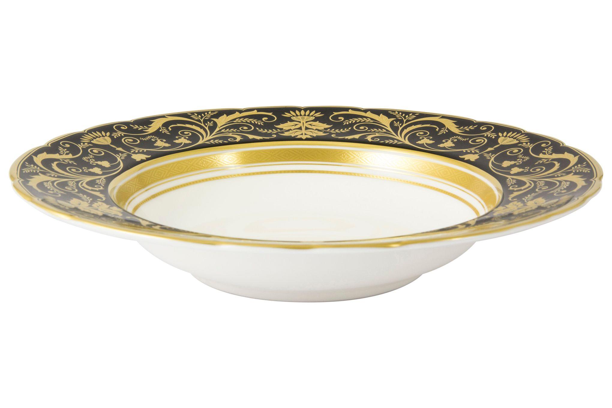 Royal Crown Derby Regency - Black Rimmed Bowl 21.5cm thumb 1