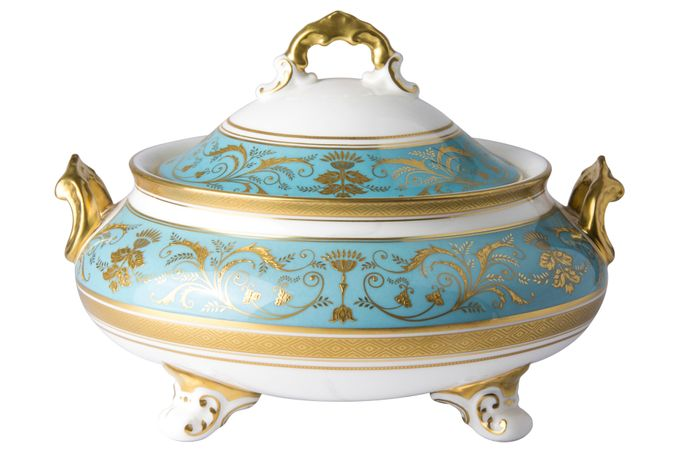 Royal Crown Derby Regency -Turquoise Vegetable Tureen with Lid