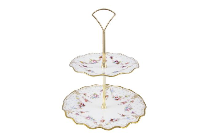 Royal Crown Derby Royal Antoinette 2 Tier Cake Stand