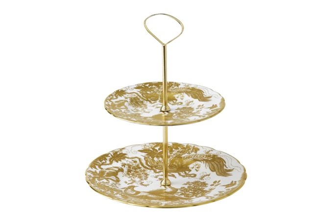 Royal Crown Derby Aves - Gold 2 Tier Cake Stand