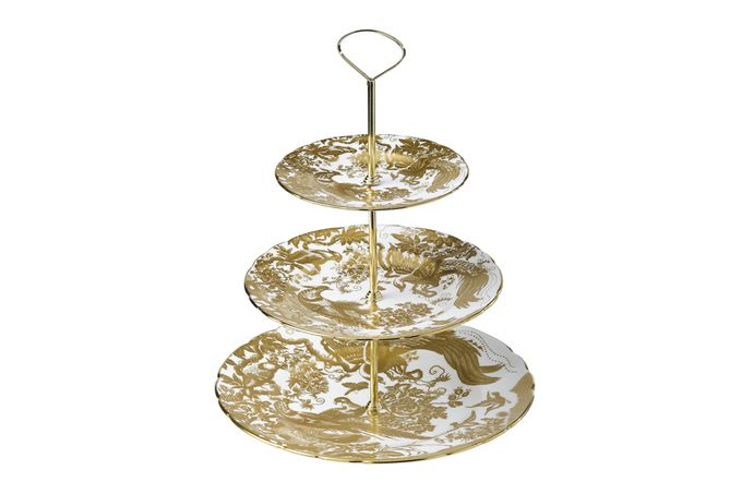 Royal Crown Derby Aves - Gold 3 Tier Cake Stand