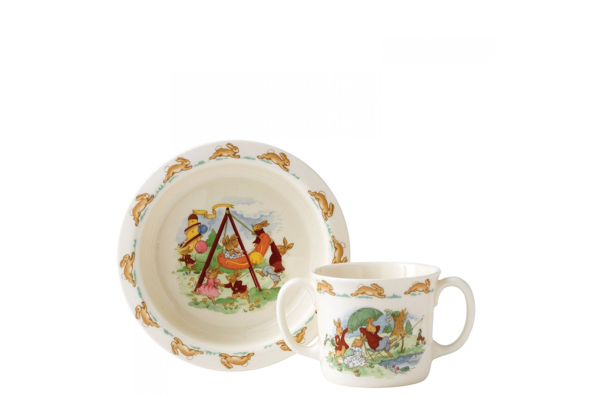Royal Doulton Bunnykins 2 Piece Set Baby Plate, 2 Handled Mug thumb 1