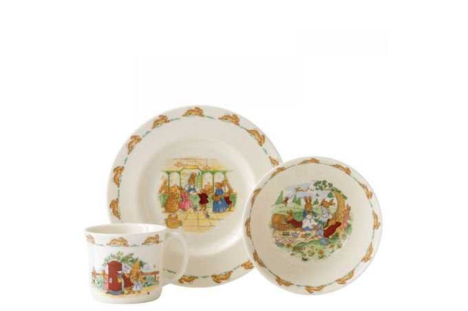 Royal Doulton Bunnykins 3 Piece Set 20cm Plate, Cereal Bowl, 1 Handled Hug-a-Mug