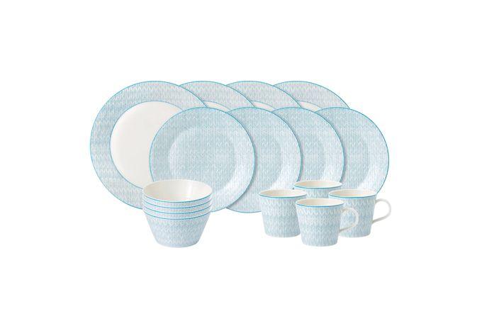 Royal Doulton Pastels 16 Piece Set Herringbone - 4 x Plate 28cm, Plate 23cm, Bowl 15cm, Mug