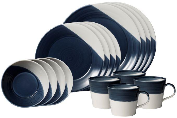 Royal Doulton Bowls of Plenty 16 Piece Set Dark Blue - 4 x Dinner Plates, Side Plates, Cereal Bowls, Mugs
