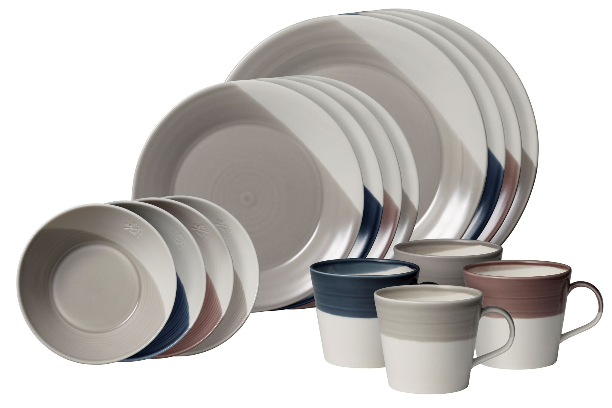 Royal Doulton Bowls of Plenty 16 Piece Set Mixed Colours - 4 x Dinner Plate, Side Plate, Cereal Bowl, Mug thumb 1