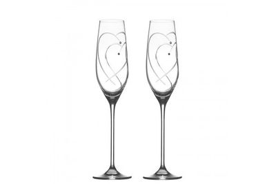 Royal Doulton Promises Pair of Flutes Two Hearts Entwined 160ml