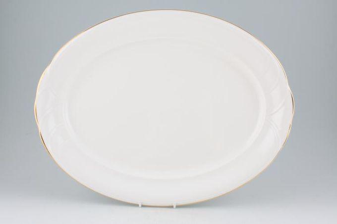 """Royal Doulton Tiara - white+gold - H5174 Oval Plate / Platter 16 1/4"""""""