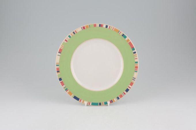 "Royal Doulton Carnival - T.C.1299 Starter / Salad / Dessert Plate Green Rim 8"""