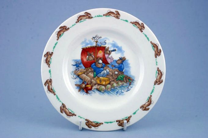 Royal Doulton Bunnykins - 'Regd. Trade Mark' Tea / Side / Bread & Butter Plate Rafting 6 3/8""