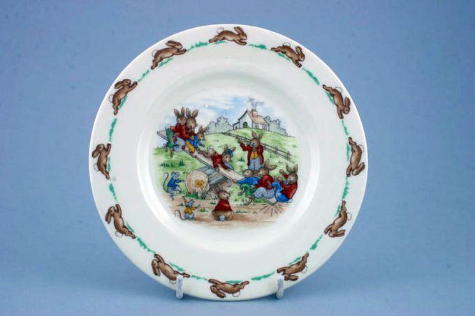 "Royal Doulton Bunnykins - 'Regd. Trade Mark' Tea / Side / Bread & Butter Plate See - Saw 6 3/8"""