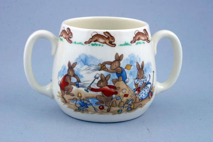 "Royal Doulton Bunnykins - 'Regd. Trade Mark' Mug (2 Handled) Seaside - 2 Handles 2 3/4 x 2 3/4"""