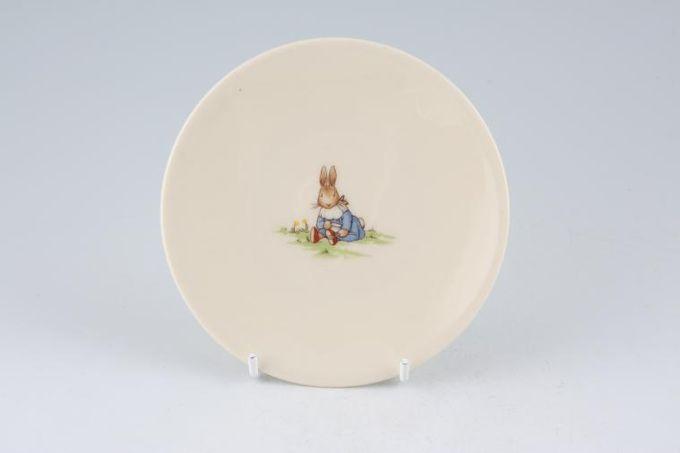 "Royal Doulton Bunnykins - 'Regd. Trade Mark' Tea / Side / Bread & Butter Plate Rimless Plate, Baby Bunnykins Black Grade 5"""