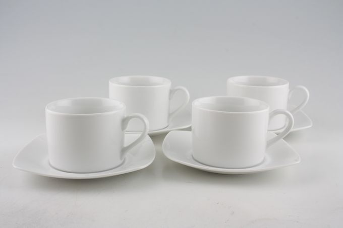 Royal Worcester Classic White - Classics Set (Tea) 4 x Straight sided Teacups and 4 x Square Saucers
