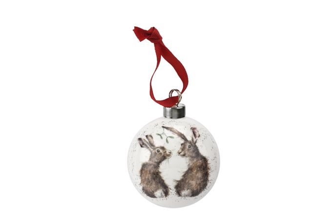Royal Worcester Wrendale Designs Bauble All I Want for Christmas 6.6cm