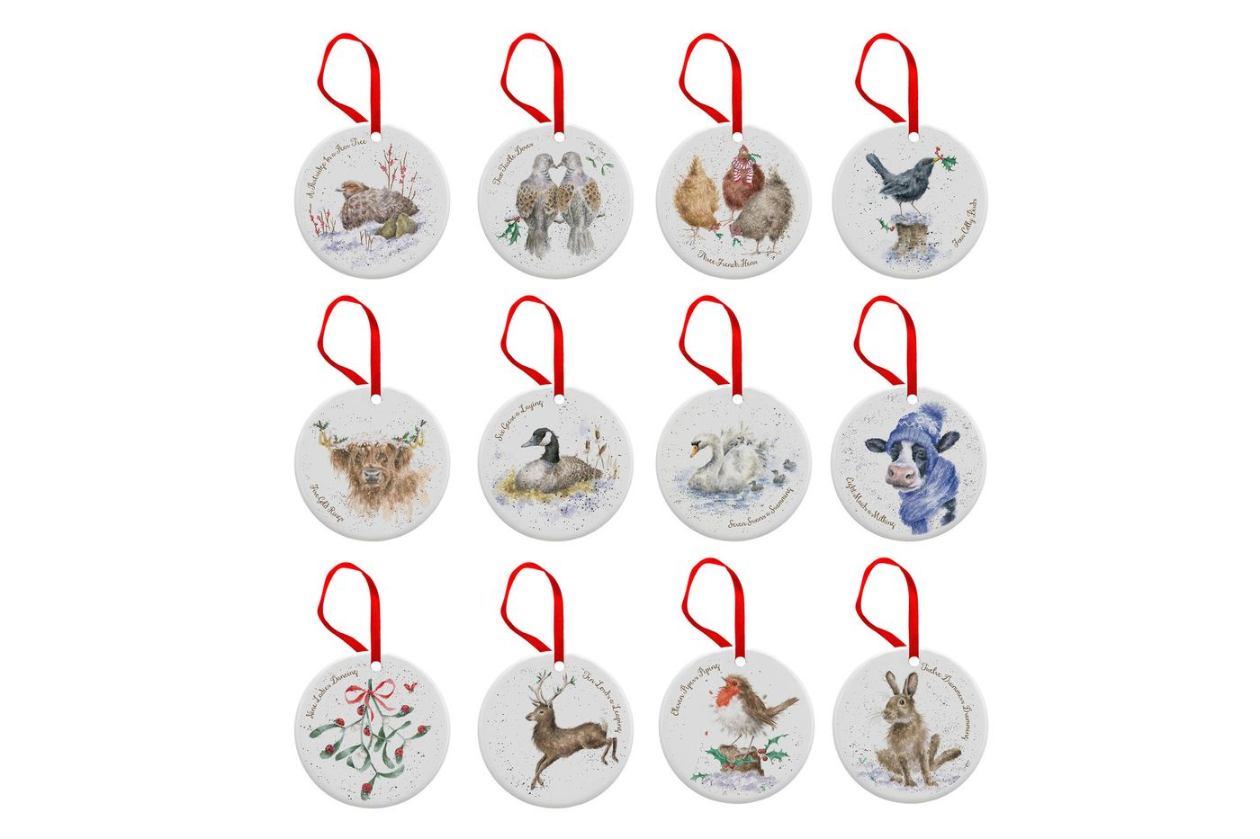 Royal Worcester Wrendale Designs Bauble Set of 12 Christmas Disc Decorations thumb 1