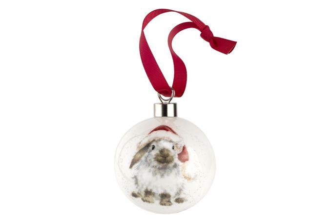 Royal Worcester Wrendale Designs Bauble Ho Ho Ho (rabbit)