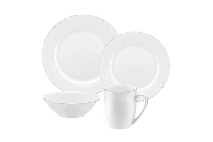 """Royal Worcester Serendipity Platinum 16 Piece Set 4 x 27cm/10.5"""" Plate, 4 x 20cm/8"""" Plate, 4 x 16cm/6.25"""" Bowl, 4 x 0.35L/12fl.oz. Mug"""