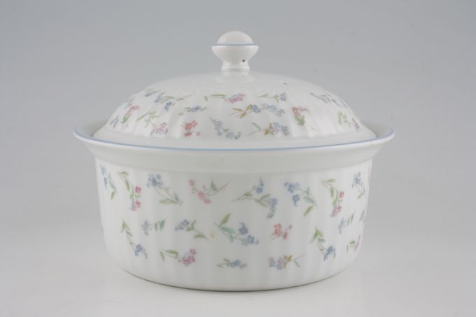 Royal Worcester Forget me not Casserole Dish + Lid Round/Ribbed/OTT 2 1/4pt