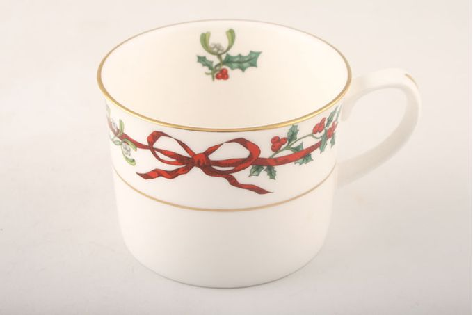 Royal Worcester Holly Ribbons Teacup Straight Sided - Some Items Made Abroad 3 1/4 x 2 1/2""
