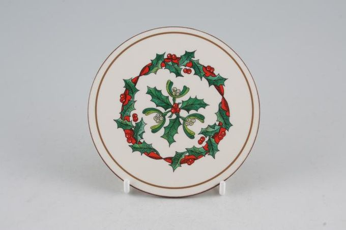 """Royal Worcester Holly Ribbons Coaster Round - Cork Back 4"""""""
