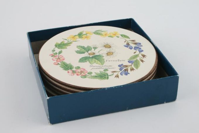"""Royal Worcester Worcester Herbs Coaster Box of 6 round coasters - Herb pattern 4"""""""