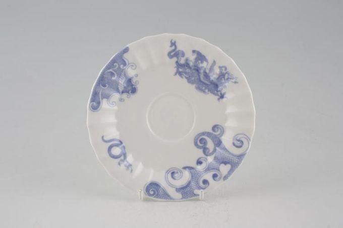 "Royal Worcester Blue Dragon - No Gold Edge Tea Saucer Warmistry Shape 5 3/4"""