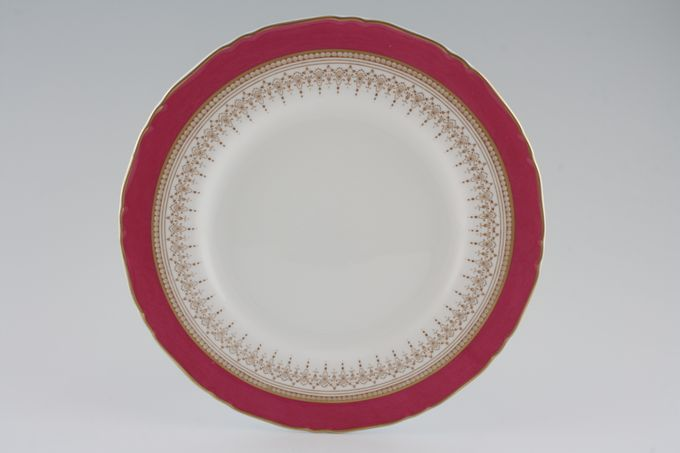 """Royal Worcester Regency - Ruby - White - Royal Worcester Breakfast / Salad / Luncheon Plate Shades may vary - Gold Edge 9 1/4"""""""