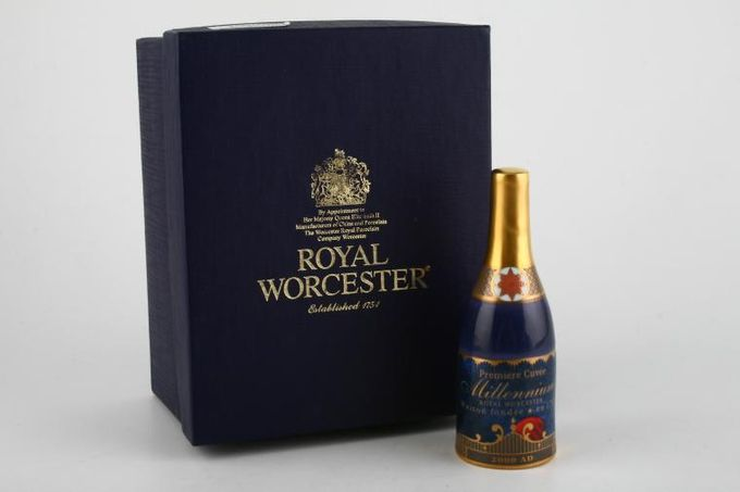 """Royal Worcester Royal Worcester - Millenium Giftware Candle Snuffer Champagne bottle 1 1/2 x 4 1/4"""""""