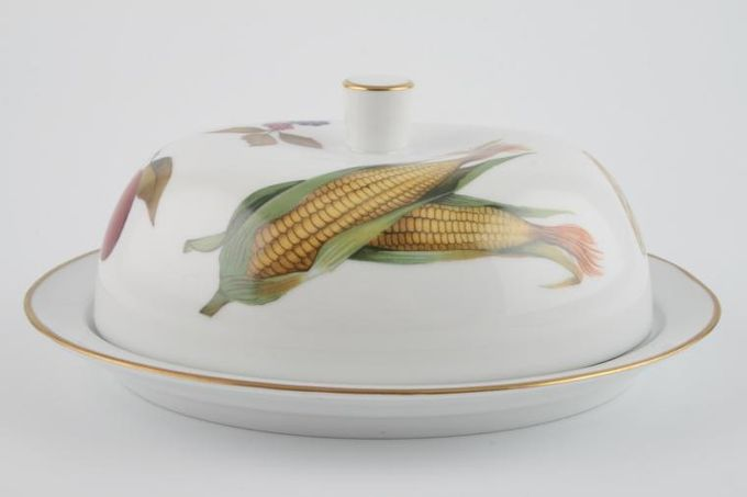 Royal Worcester Evesham - Gold Edge Butter Dish + Lid Oval , Modern 8 x 6 1/2""