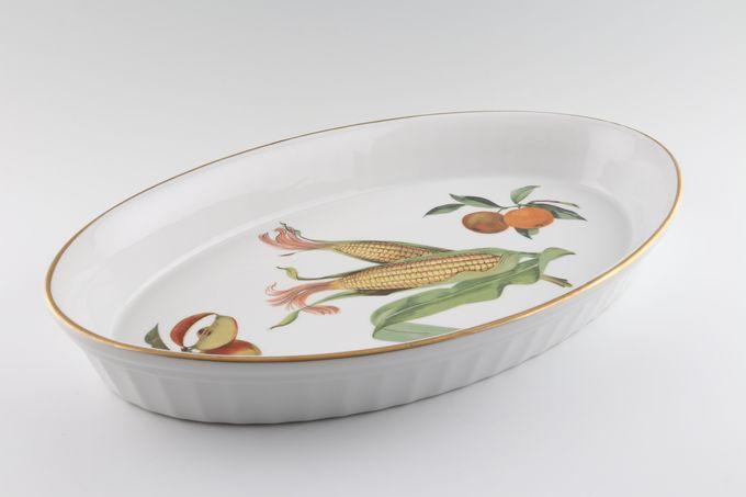 "Royal Worcester Evesham - Gold Edge Serving Dish Oval Baker, Corn 14 1/2 x 9"""