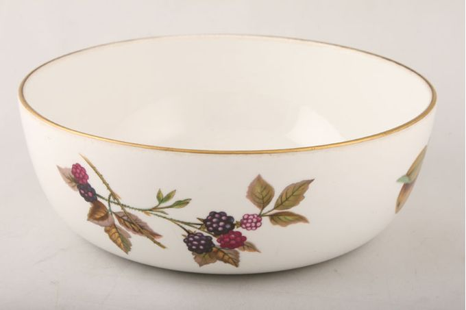 Royal Worcester Evesham - Gold Edge Serving Bowl Pattern outside and gold line on rim 8 x 2 3/4""