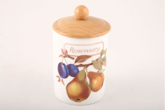 Royal Worcester Evesham - Gold Edge Spice Jar Rosemary - wooden lid with round knob 2 1/4 x 3""