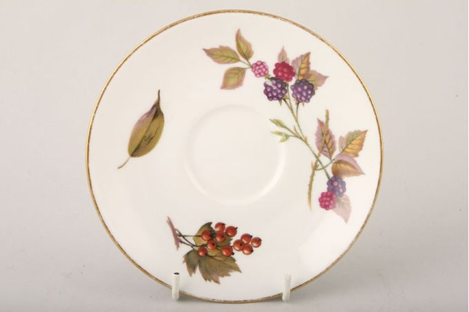 "Royal Worcester Evesham - Gold Edge Tea Saucer Blackberries, Redcurrants 6"""