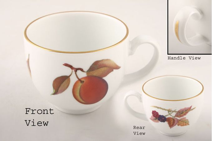 Royal Worcester Evesham - Gold Edge Coffee Cup Gold line in the centre of the handle / Plum, Blackberry 3 x 2 1/4""