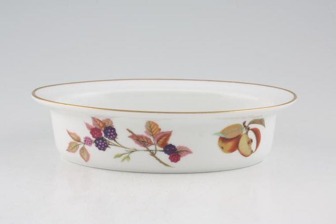 """Royal Worcester Evesham - Gold Edge Pie Dish Oval - Pear 7 3/4"""""""
