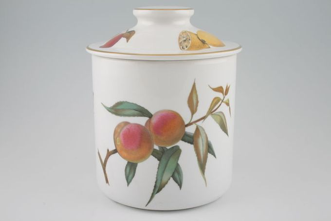 "Royal Worcester Evesham - Gold Edge Storage Jar + Lid Ceramic lid 5 3/4 x 5 3/4"""